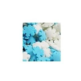 Copos de Nieve blanco y azul