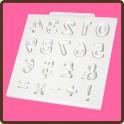 Molde silicona numeros y signos